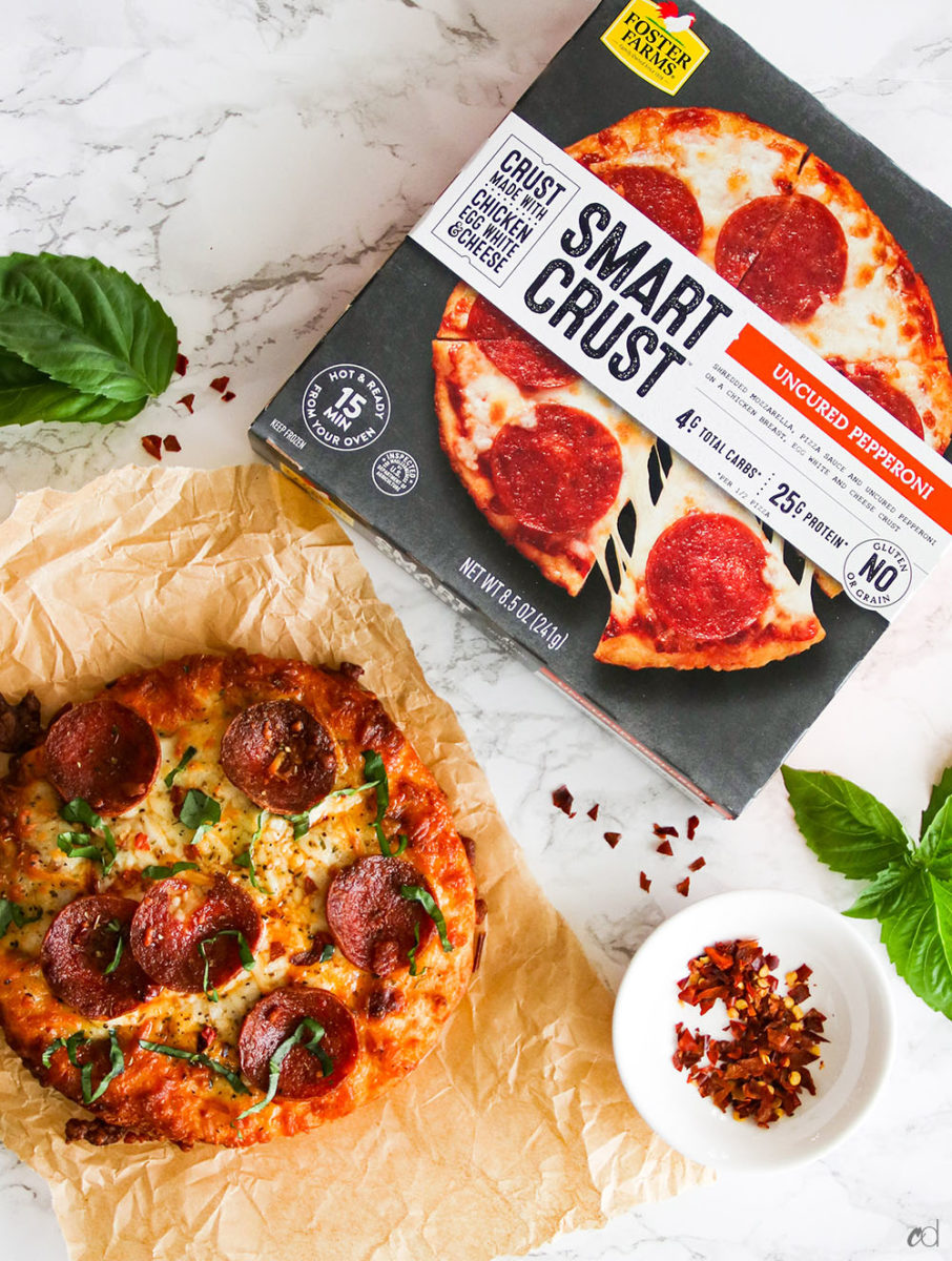 Finally! Keto and Low-carb'ers can enjoy pizza again. This delicious gluten and grain-free keto-certified @FosterFarms Smart Crust™ Pizza will satisfy those pizza cravings for sure. With only 4g net carbs and 25g protein per serving, you get to enjoy pizza and feel like you\'re cheating...but you're not! What's wild about this crust is that it's made out of Foster Farms chicken, cheese, and egg whites! I promise you, as crazy as it sounds -- it's delicious! I gobbled my pizza up s...