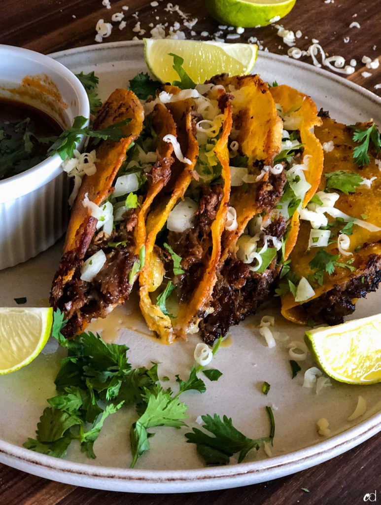 Beef Birria Quesa Tacos with Consome